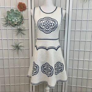 Alya White and Navy Embroidered Skater Dress